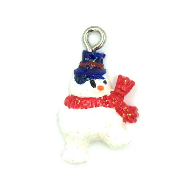 Christmas charm - resin snowman - 14MM X 17MM
